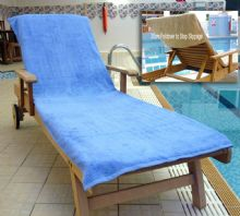 Bana Kuru Chlorine & Sun Resistant -  Full Length Sun Lounger Towel With 30cm Flap 500gsm Med Blue